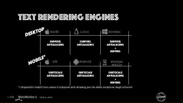 Text rendering engines * I dispositivi mobili non usano il subpixel anti-aliasing per via della rotazione degli schermi De...