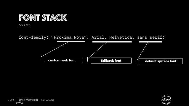 """font-family: """"Proxima Nova"""", Arial, Helvetica, sans serif; fallback font default system fontcustom web font FONT STACK Nel..."""