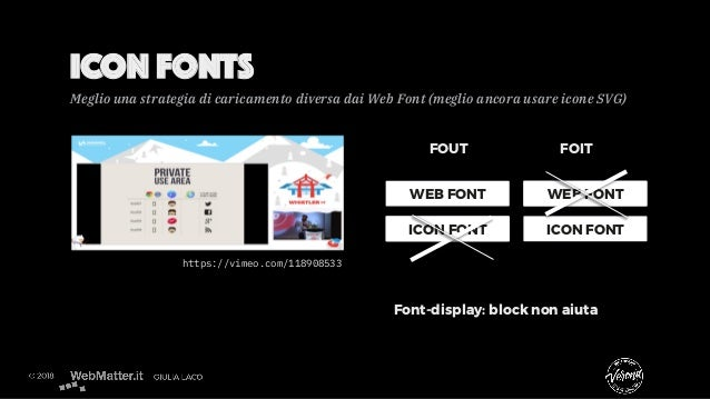 ICON FONTS https://vimeo.com/118908533 WEB FONT ICON FONT WEB FONT ICON FONT FOUT FOIT Font-display: block non aiuta Megli...