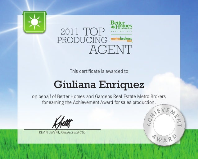 2011 Top Producing Real Estate Agent   Better Homes And Gardens RE Metro  Brokers. 2011 TOP PRODUCING ...