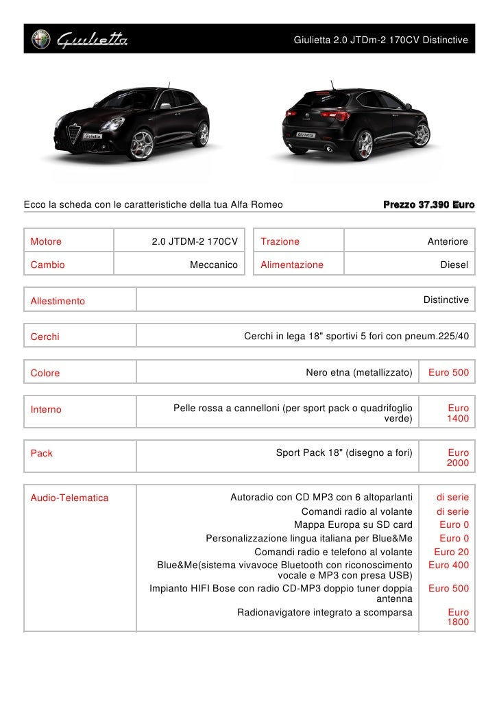 Giulietta 2.0 JTDm-2 170CV Distinctive     Ecco la scheda con le caratteristiche della tua Alfa Romeo                     ...