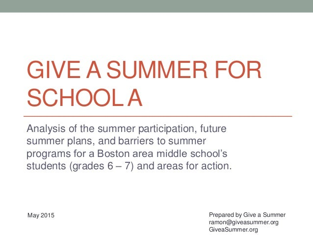 GIVE A SUMMER FOR SCHOOLA Analysis of the summer participation, future summer plans, and barriers to summer programs for a...
