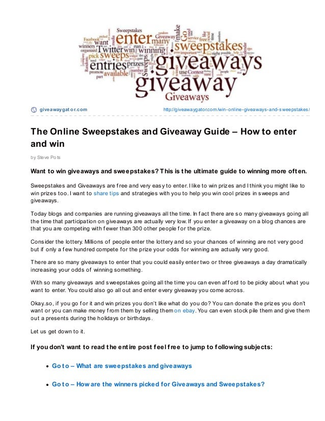 The Online Sweepstakes and Giveaway Guide – How to enter and win