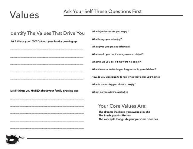personal values worksheet  termolak &