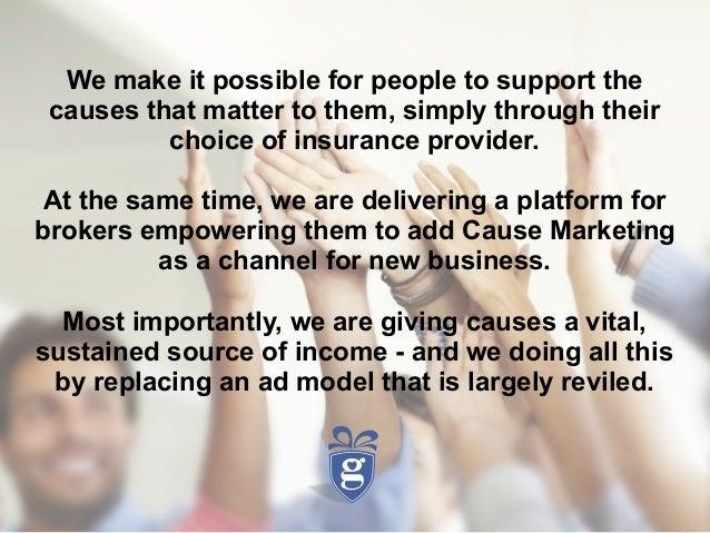 Investor Deck: A New Cause Marketing Model for Insurance Slide 2