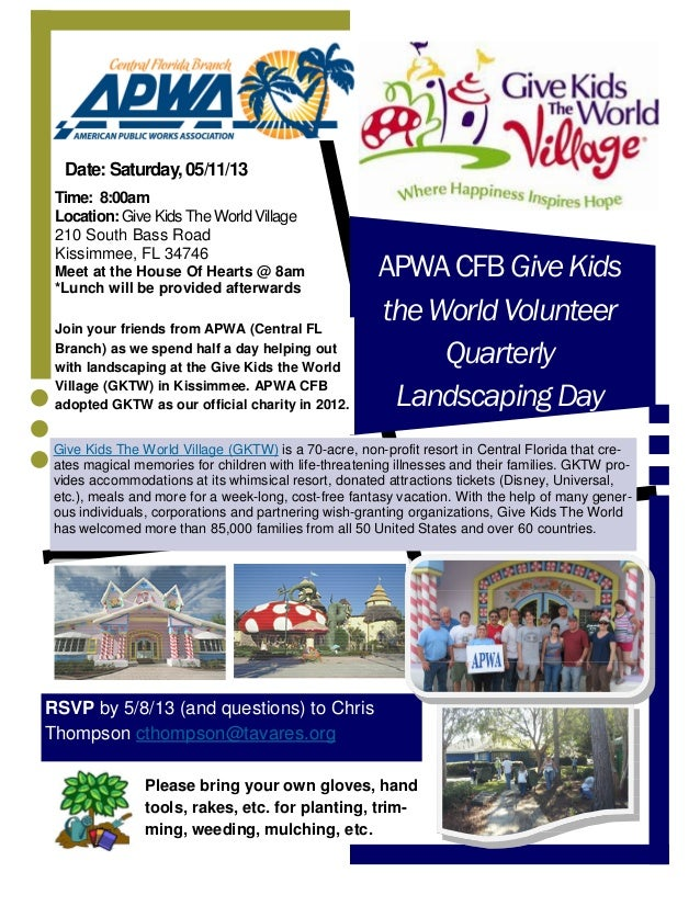 APWACFBGiveKidstheWorldVolunteerQuarterlyLandscapingDayJoin your friends from APWA (Central FLBranch) as we spend half a d...