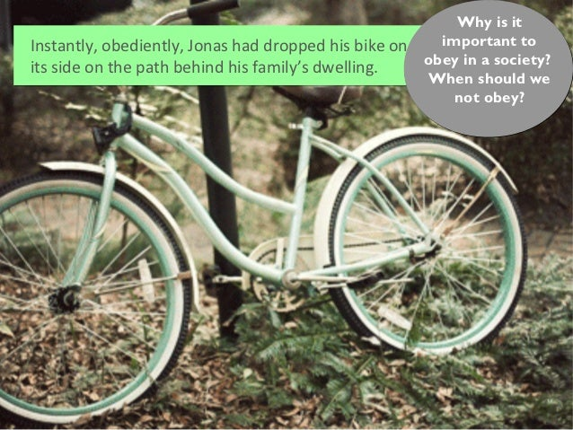Why is itInstantly, obediently, Jonas had dropped his bike on     important to                                            ...