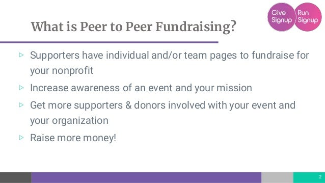 GiveSignup   RunSignup Peer to Peer Fundraising Options Slide 2