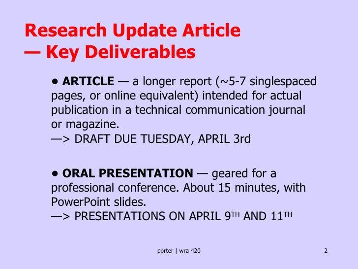 Short note on oral presentation