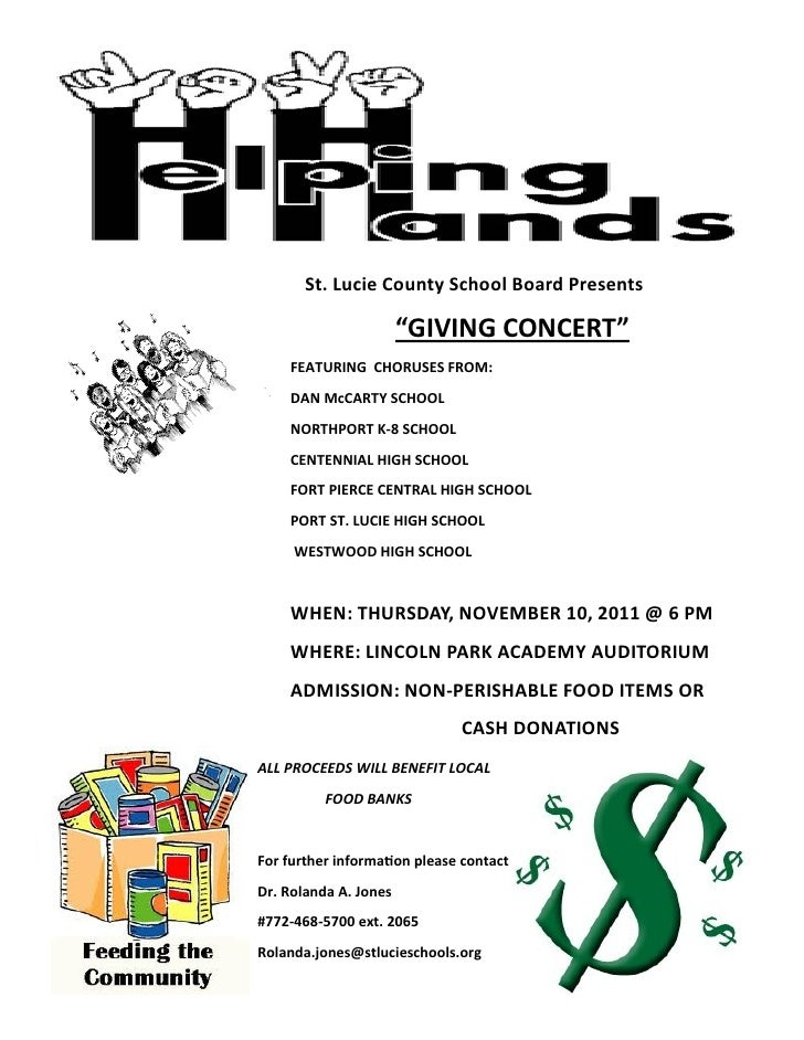 """St. Lucie County School Board Presents                       """"GIVING CONCERT""""    FEATURING CHORUSES FROM:    DAN McCARTY S..."""