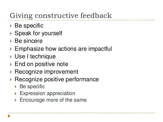 giving feedback Learn about giving and receiving feedback in this topic from the free management library.