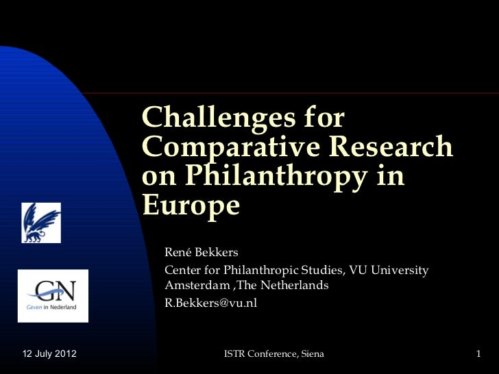 Challenges for               Comparative Research               on Philanthropy in               Europe                Ren...