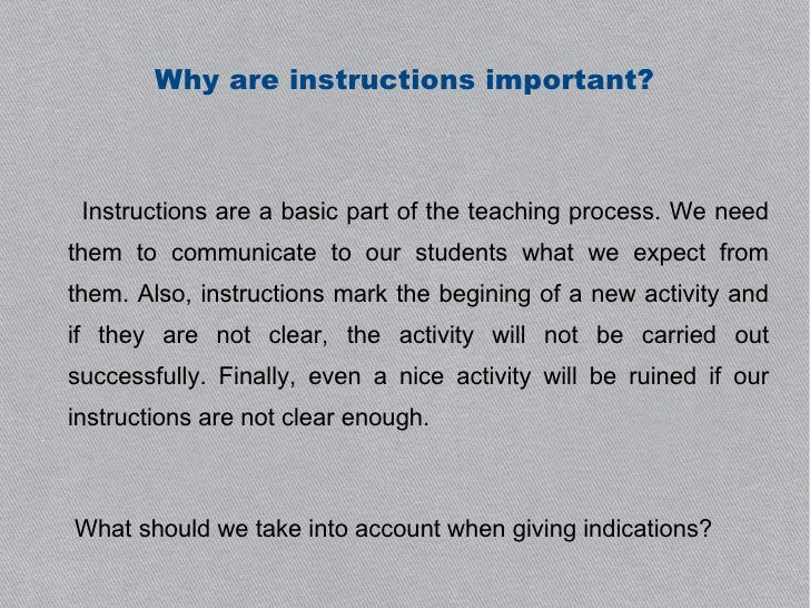 Instructor Blog: The Importance of Instructions