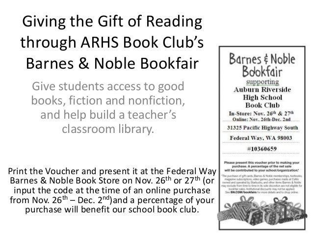 Giving the Gift of Reading through ARHS Book Club's Barnes & Noble Bookfair Give students access to good books, fiction an...