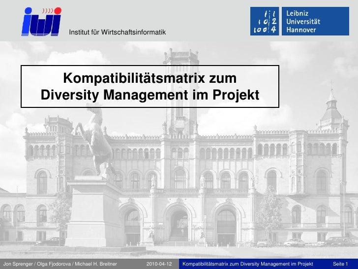 Institut für Wirtschaftsinformatik                        Kompatibilitätsmatrix zum                 Diversity Management i...