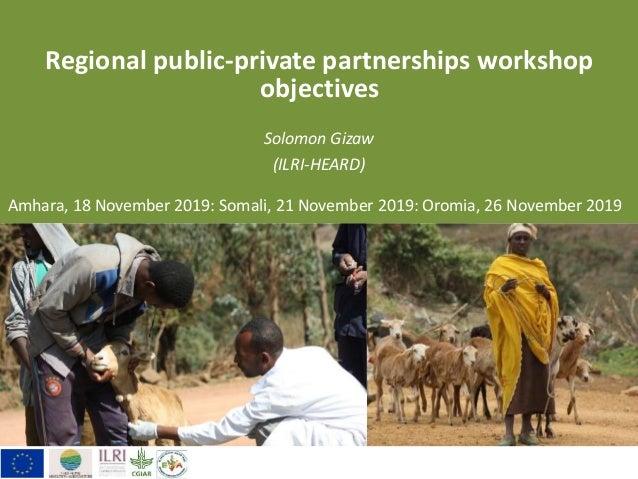Regional public-private partnerships workshop objectives Solomon Gizaw (ILRI-HEARD) Amhara, 18 November 2019: Somali, 21 N...
