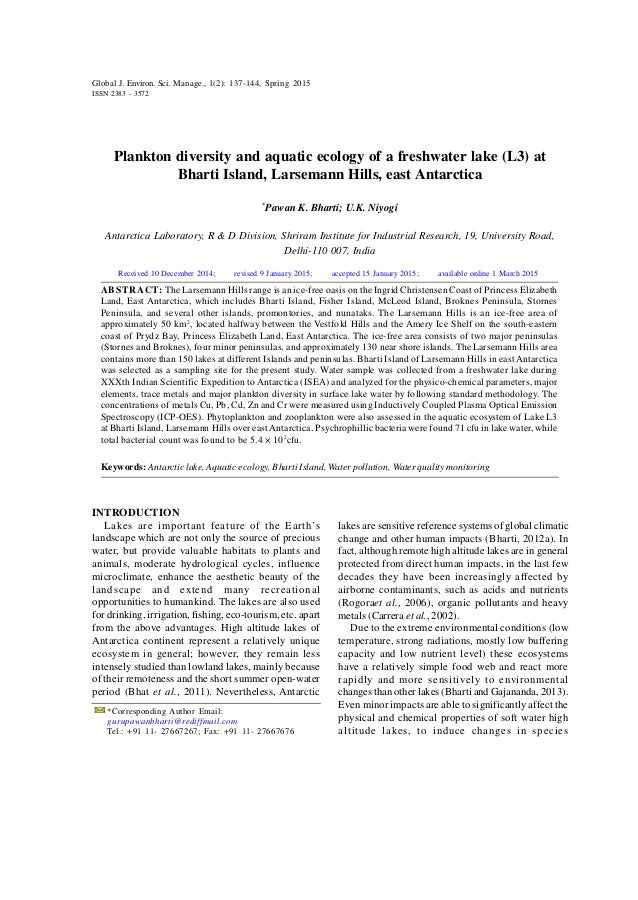 Global J. Environ. Sci. Manage., 1(2): 137-144, Spring 2015 Plankton diversity and aquatic ecology of a freshwater lake (L...