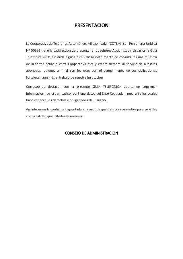 """PRESENTACION La Cooperativa de Teléfonos Automáticos Villazón Ltda. """"COTEVI"""" con Personería Jurídica Nº 00992 tiene la sat..."""