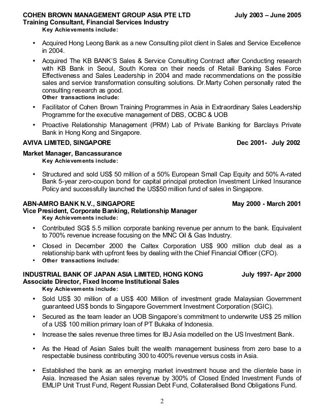 bank president resume - Acur.lunamedia.co