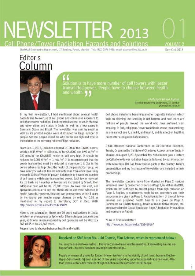 Prof. Girish Kumar's 2nd Newsletter on Cell Tower Radiation Hazards and Solutions - Sept - Oct 2013