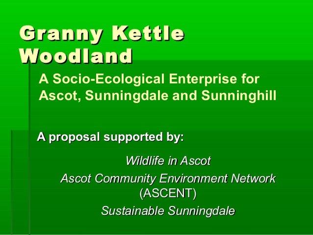 Granny KettleGranny KettleWoodlandWoodlandA proposal supported by:A proposal supported by:Wildlife in AscotWildlife in Asc...