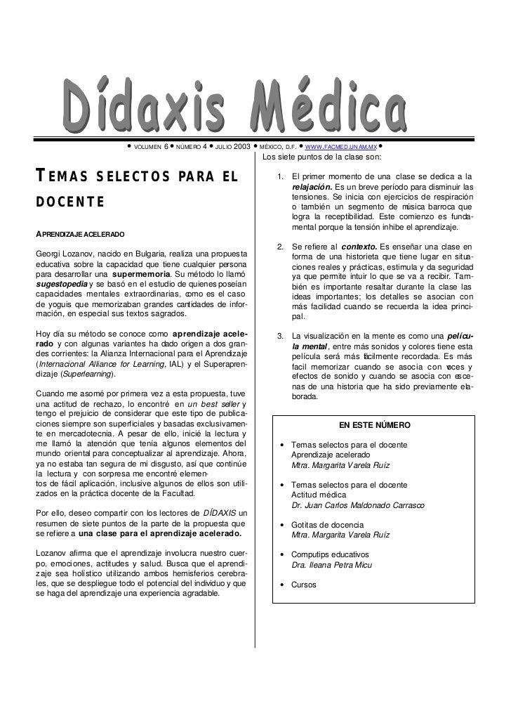 • VOLUMEN 6 • NÚMERO 4 • JULIO 2003 • MÉXICO, D.F . • WWW .FACMED.UNAM.MX •                                               ...