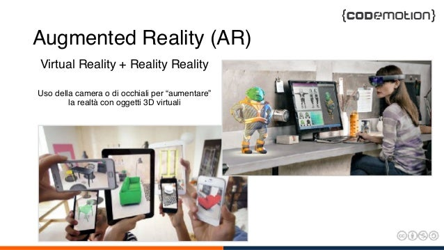 """Augmented Reality (AR) Virtual Reality + Reality Reality Uso della camera o di occhiali per """"aumentare"""" la realtà con ogge..."""