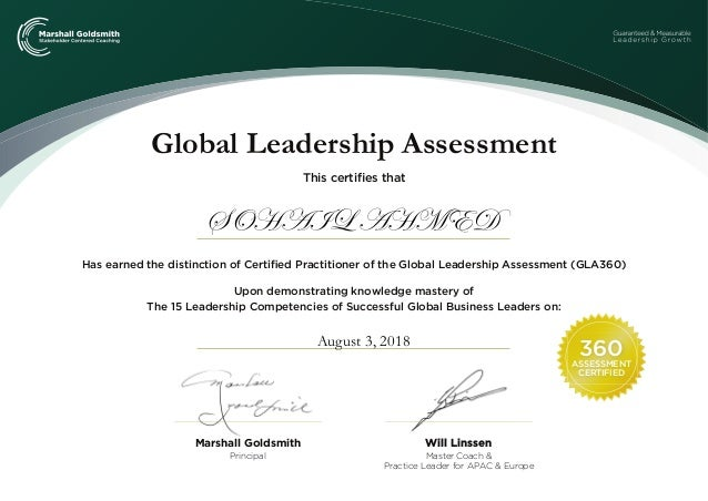 360 ASSESSMENT CERTIFIED Global Leadership Assessment Will Linssen Master Coach & Practice Leader for APAC & Europe Princi...