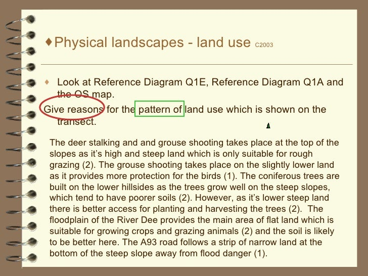 <ul><li>Physical landscapes - land use  C2003 </li></ul><ul><li>Look at Reference Diagram Q1E, Reference Diagram Q1A and t...