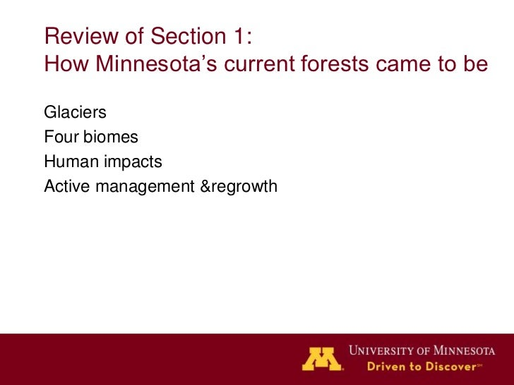 Review of Section 1:How Minnesota's current forests came to beGlaciersFour biomesHuman impactsActive management &regrowth