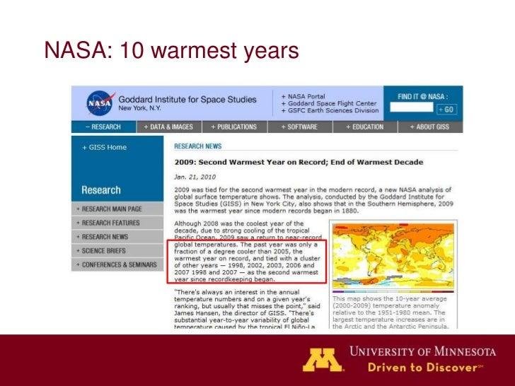 NASA: 10 warmest years