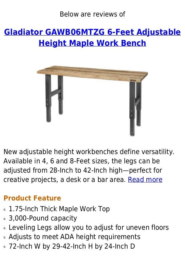 Gladiator Gawb06 Mtzg 6 Feet Adjustable Height Maple Work Bench Speci