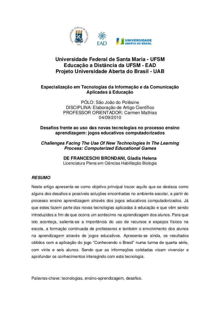 Universidade Federal de Santa Maria - UFSM               Educação a Distância da UFSM - EAD            Projeto Universidad...