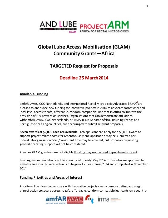 1  Global Lube Access Mobilisation (GLAM) Community Grants—Africa TARGETED Request for Proposals Deadline 25 March2014 Ava...