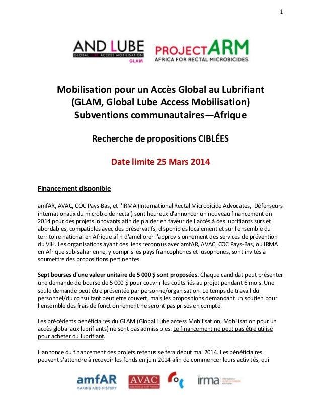 1  Mobilisation pour un Accès Global au Lubrifiant (GLAM, Global Lube Access Mobilisation) Subventions communautaires—Afri...
