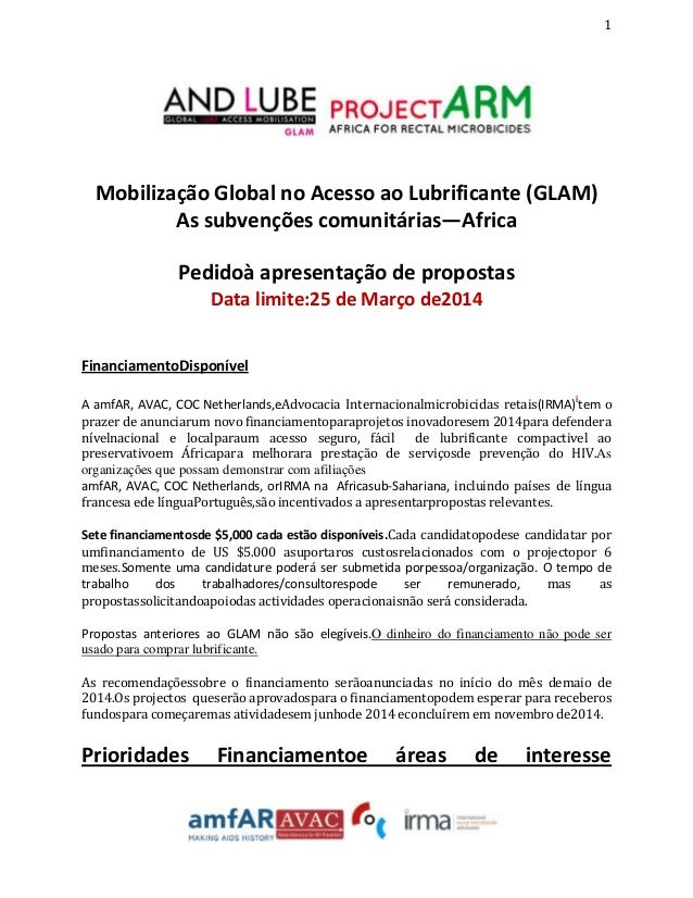 1  Mobilização Global no Acesso ao Lubrificante (GLAM) As subvenções comunitárias—Africa Pedidoà apresentação de propostas...