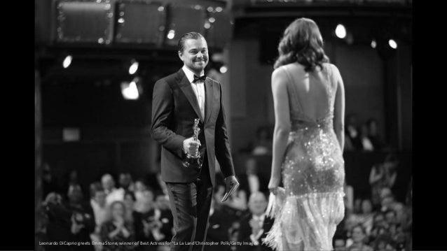 Leonardo DiCaprio greets Emma Stone, winner of Best Actress for 'La La Land'Christopher Polk/Getty Images