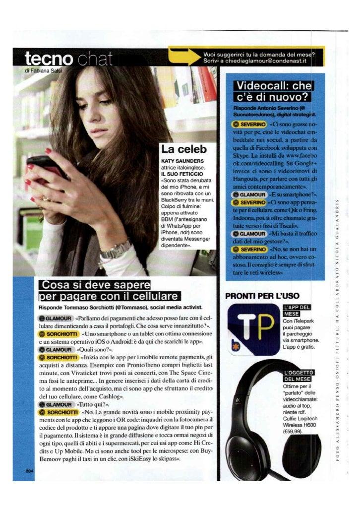 """Intervista Glamour Marzo 2012 """"Cosa si deve sapere per pagare con il cellulare"""""""