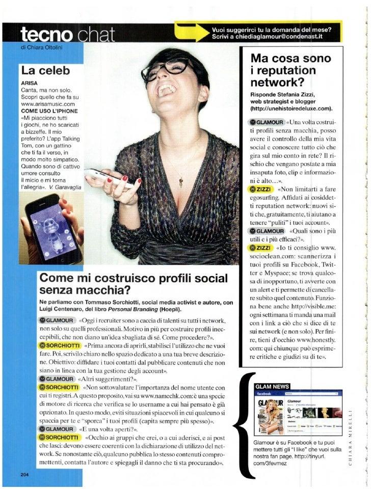 """Intervista Glamour Settembre 2011 """"Come si costruiscono profili corretti sui Social Network"""""""
