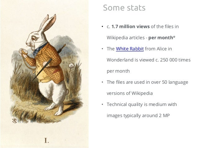 • c. 1.7 million views of the files in Wikipedia articles - per month* • The White Rabbit from Alice in Wonderland is view...