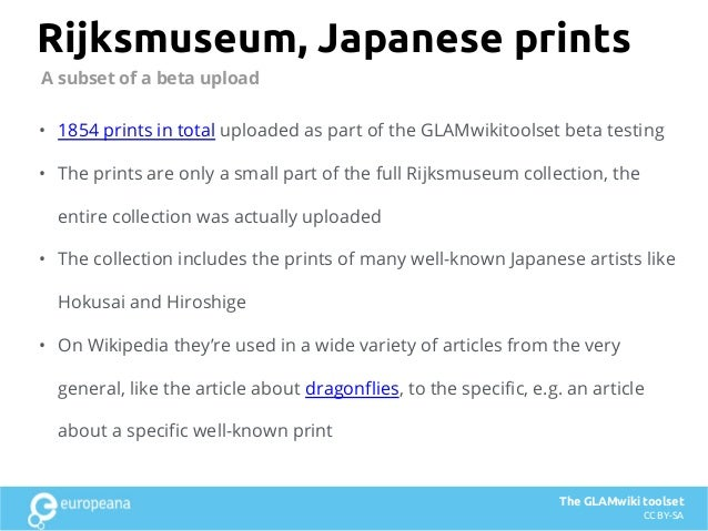 Rijksmuseum, Japanese prints • 1854 prints in total uploaded as part of the GLAMwikitoolset beta testing • The prints are ...