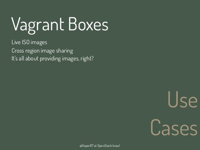 @flaper87 at OpenStack IsraelUseCasesVagrant BoxesCross region image sharingIts all about providing images, right?Live ISO...