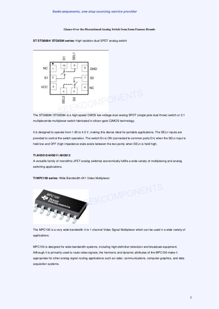 Seekcomponents, one-stop sourcing service provider                          Glance Over the Discontinued Analog Switch fro...