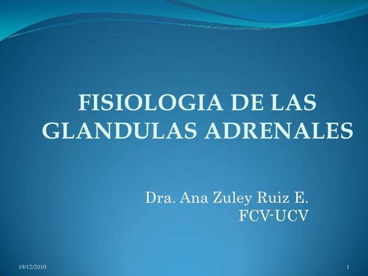 FISIOLOGIA DE LAS GLANDULAS ADRENALES<br />Dra. Ana Zuley Ruiz E.<br />FCV-UCV<br />13/11/2009<br />1<br />