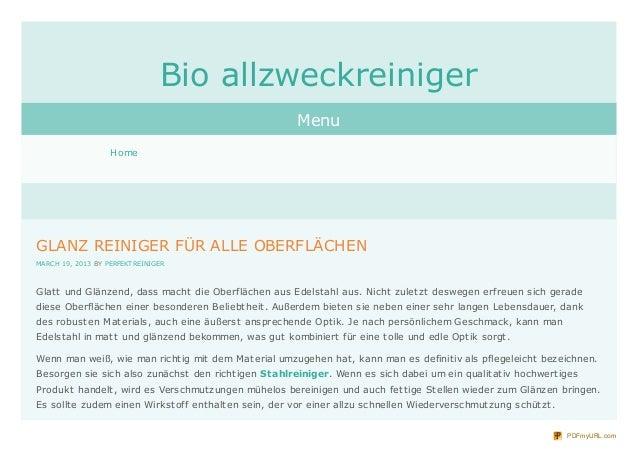 Bio allzweckreiniger                                                        Menu                   HomeGLANZ REINIGER FÜR ...