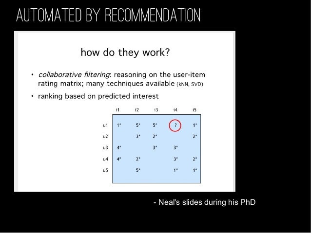 AUTOMATED BY RECOMMENDATION - Neal's slides during his PhD