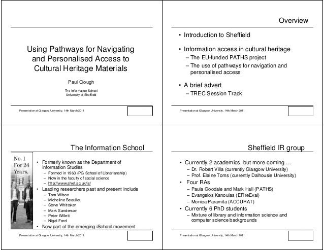 Overview                                                                   • Introduction to Sheffield     Using Pathways ...