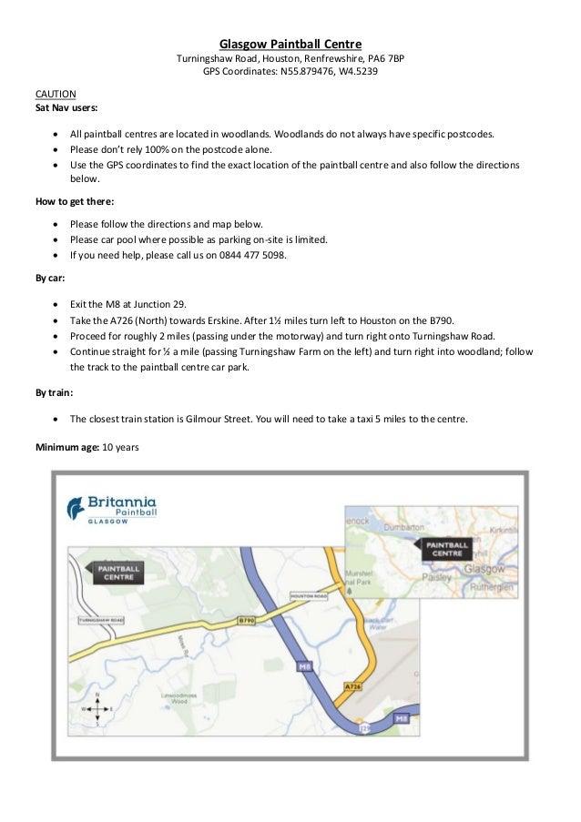Britannia Glasgow paintballing centre directions & map