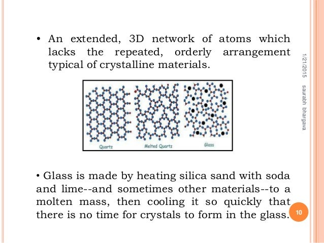 • An extended, 3D network of atoms which lacks the repeated, orderly arrangement typical of crystalline materials. • Glass...