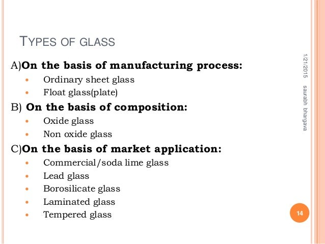 TYPES OF GLASS A)On the basis of manufacturing process:  Ordinary sheet glass  Float glass(plate) B) On the basis of com...